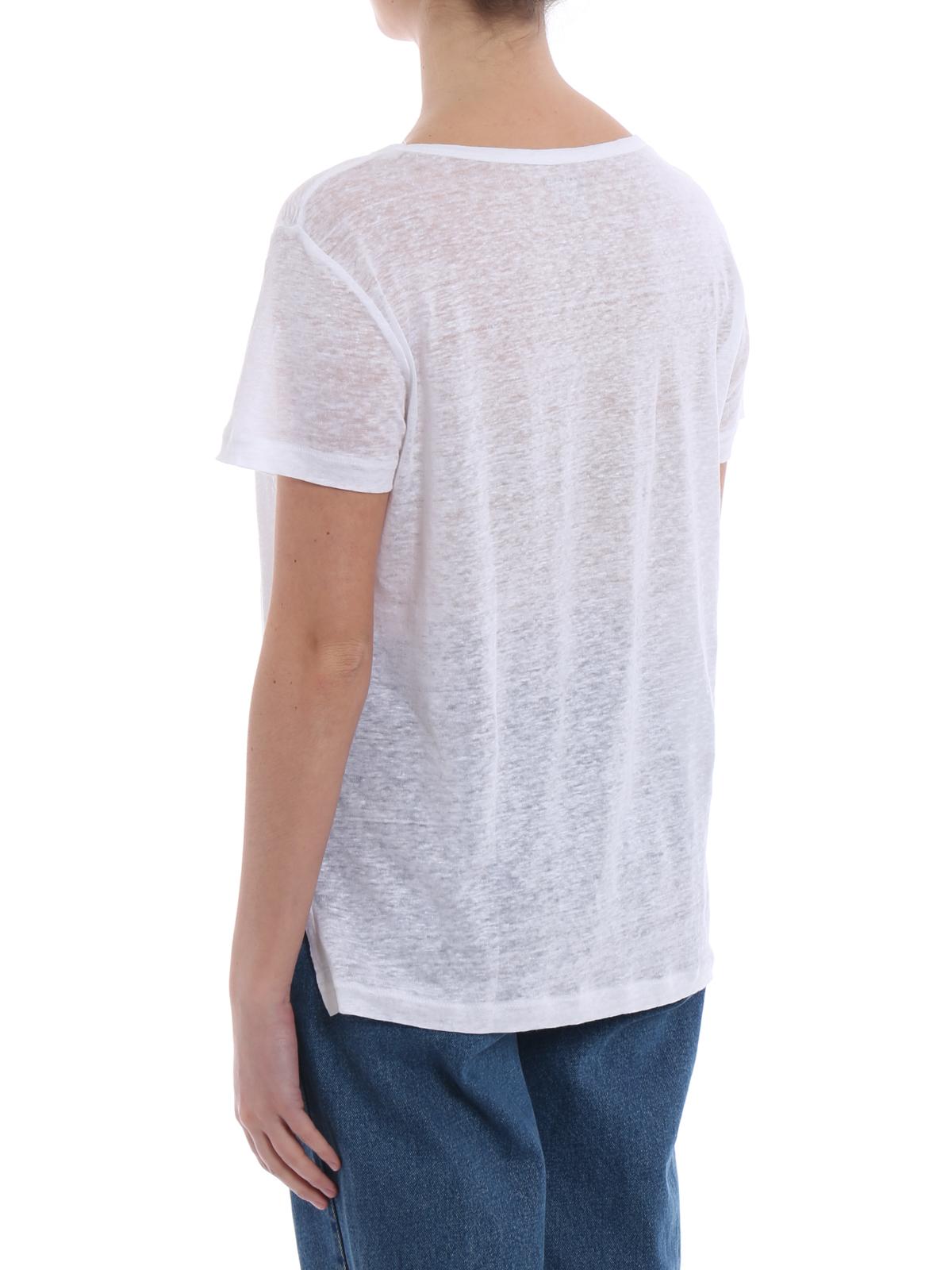 Linen scoop neck T-shirt Majestic Filatures Top Quality Cheap Online Professional Online 6fpfaNcETT