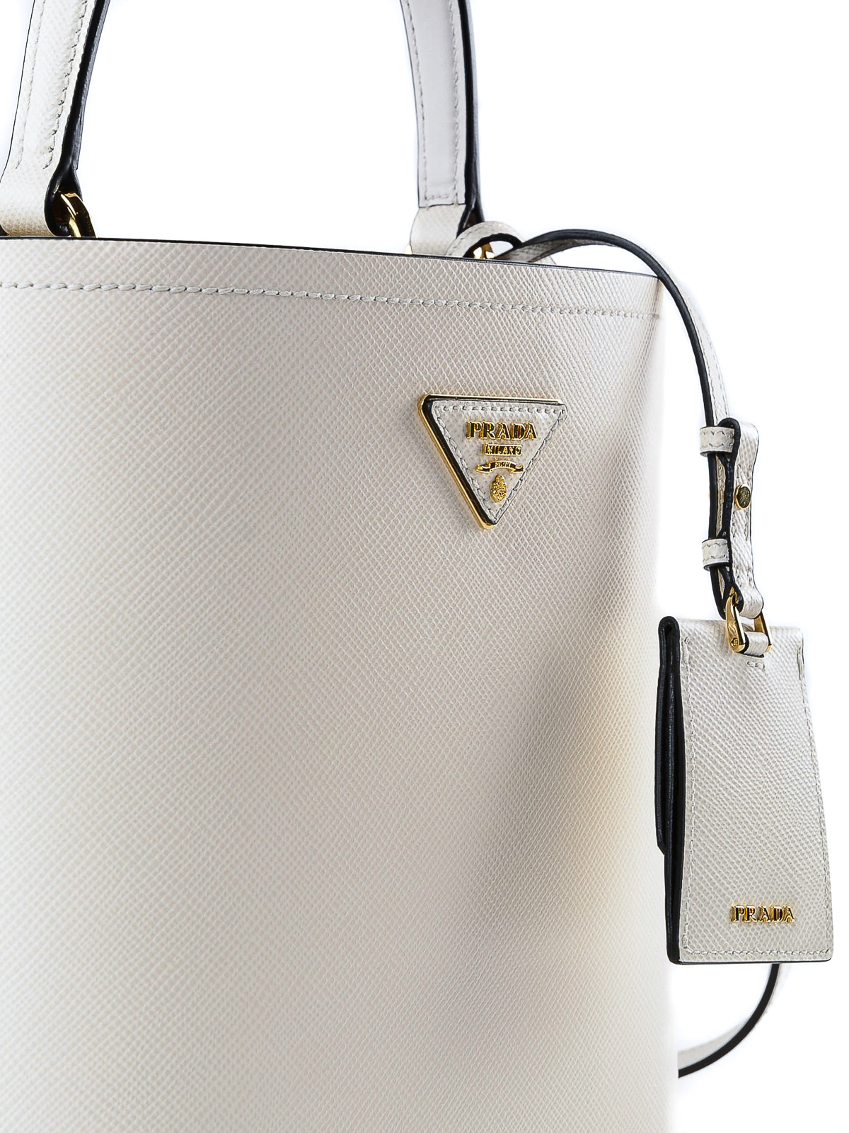 Prada - White Saffiano leather double bucket bag - Bucket bags ... afa9cad5638ef