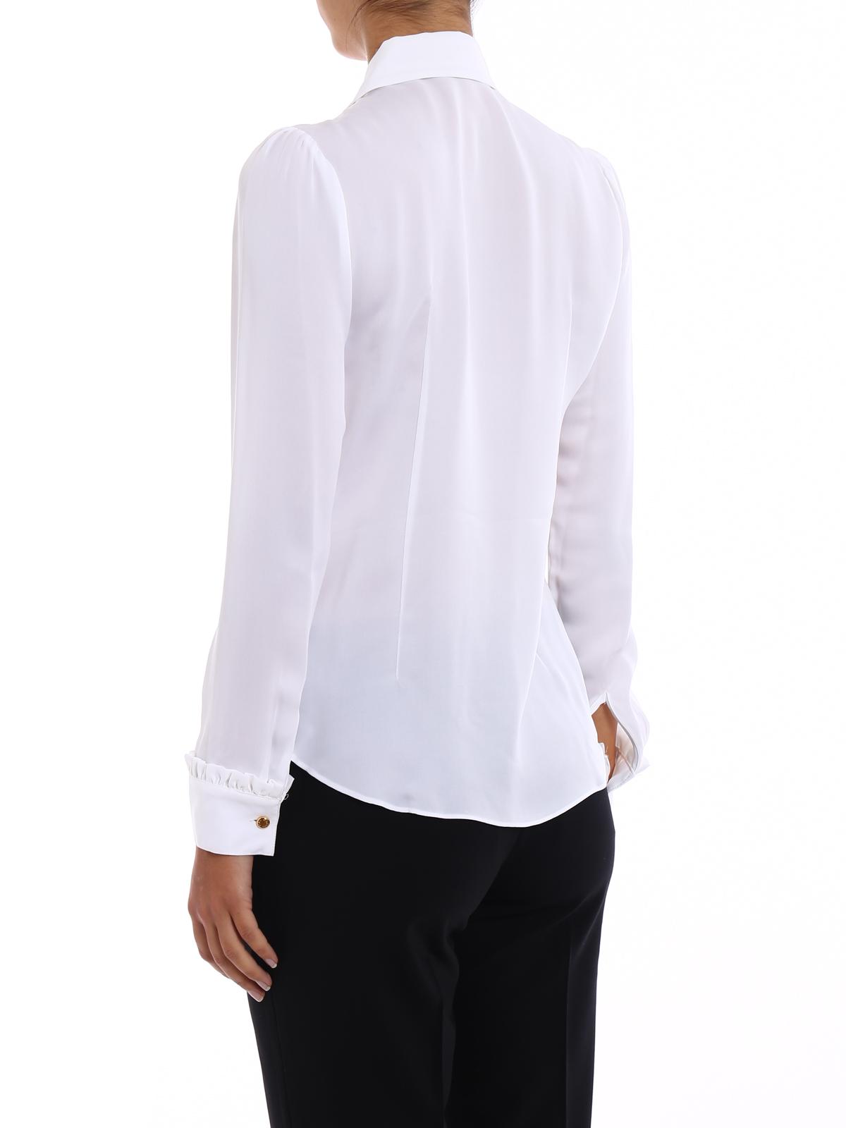390a3414df406b Michael Kors - Camicia in seta bianca con ruches - camicie ...