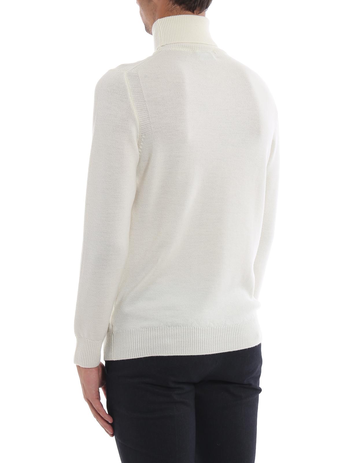 più amato f2ec6 f76b1 Dondup - Dolcevita bianca in morbida lana merino - maglia a ...