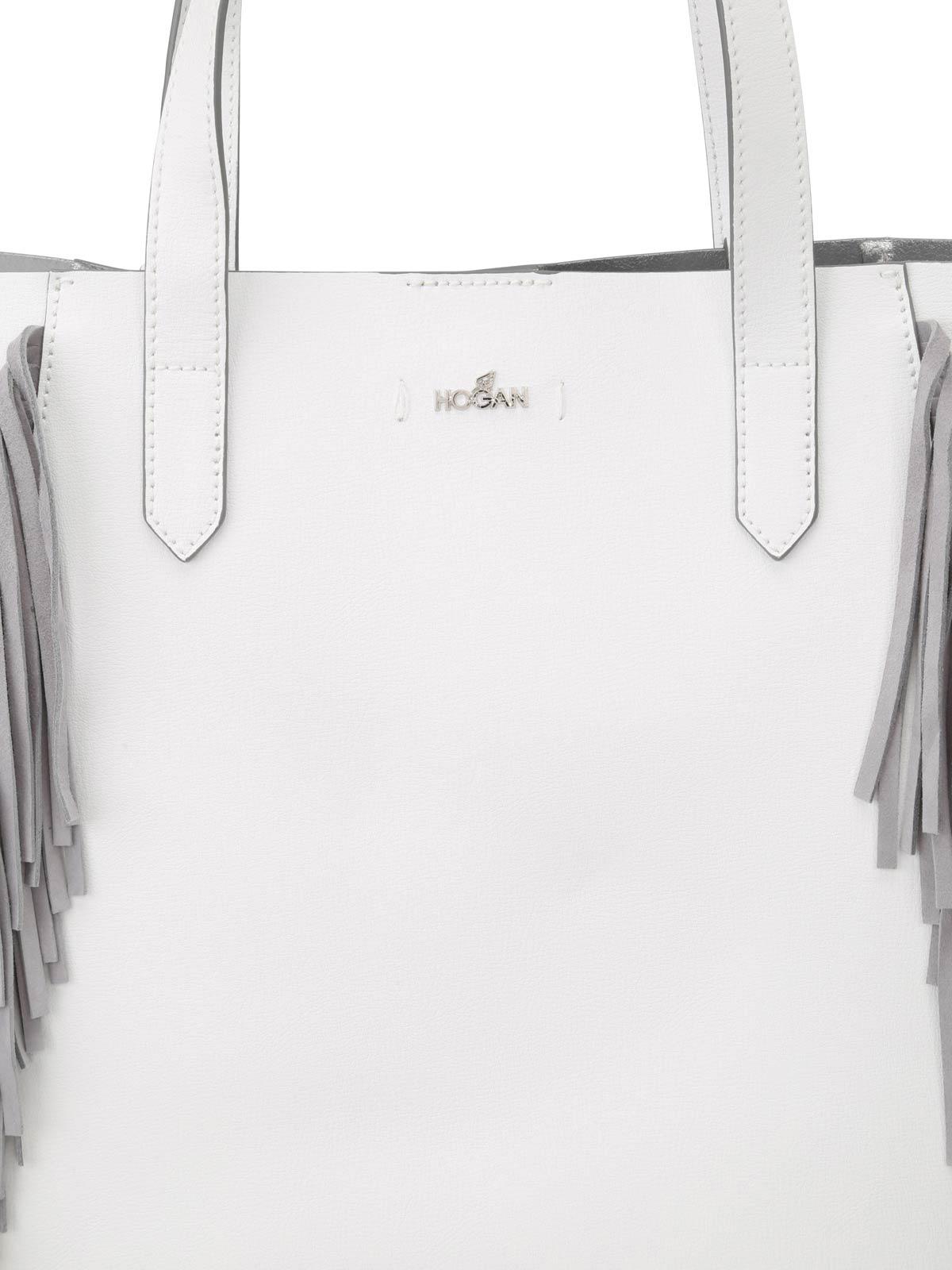 6bdc724d7d Hogan - Tote bianca con frange in suede - shopper - KBW00WA5400IZK077Q