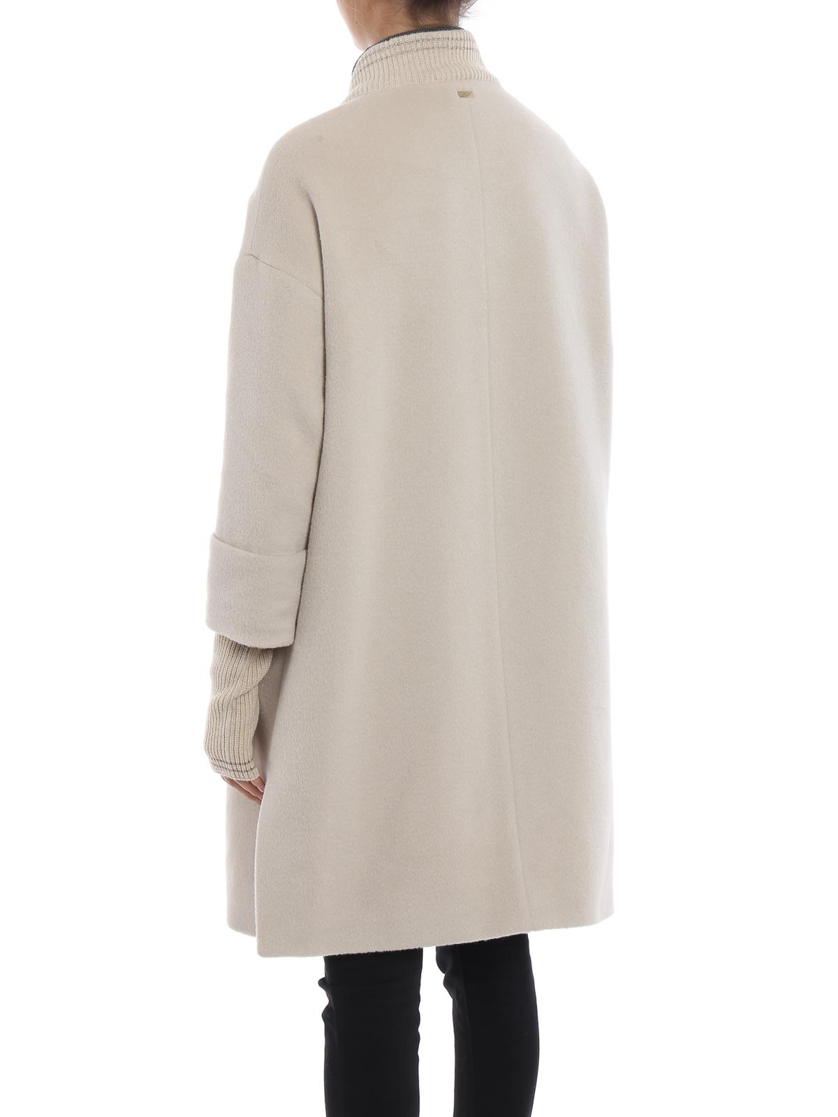 1f0b87e2feefe1 Herno - Cappotto bianco in lana e angora - cappotti al ginocchio ...