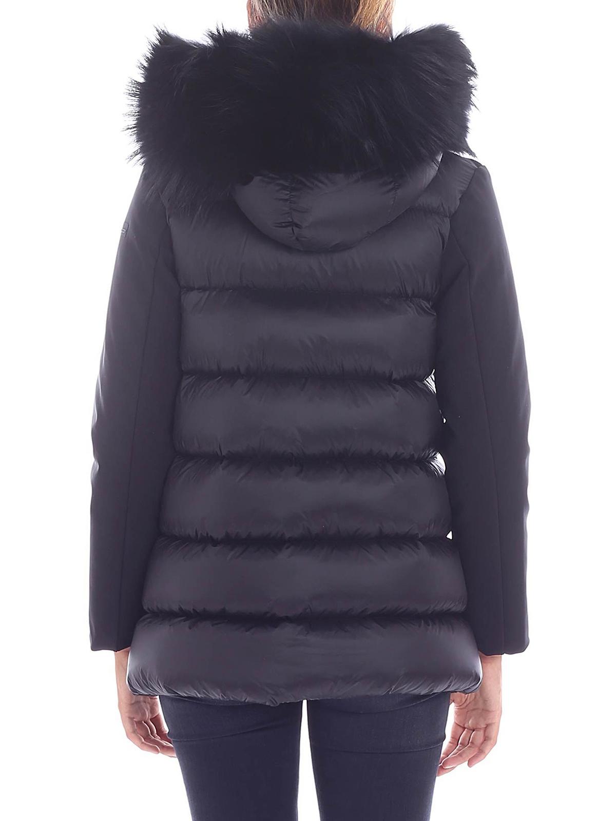 Rrd - Winter Hybrid Zar Lady Fur Black Nylon Jacket -4817