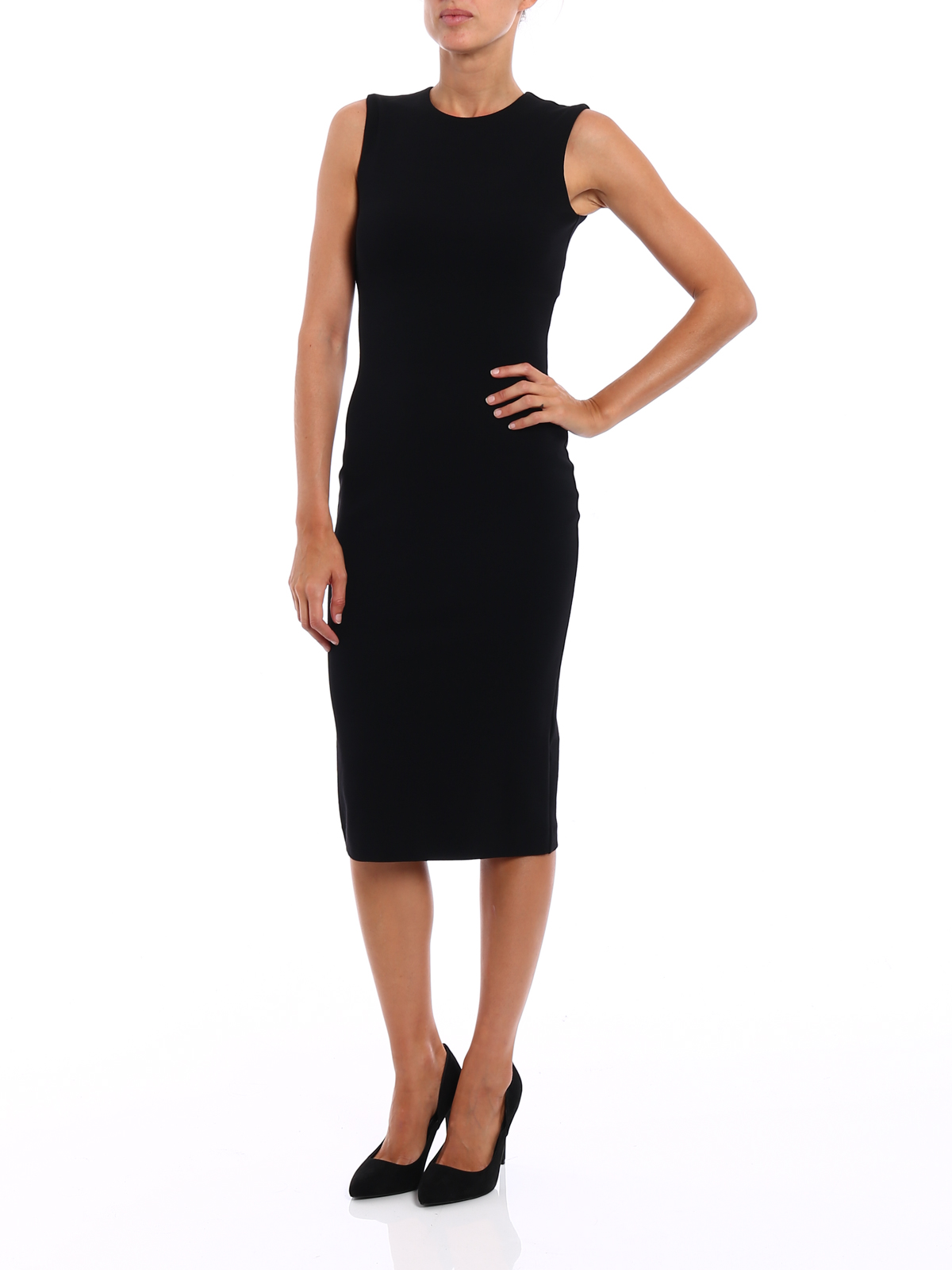 186bbc5c2c Dsquared2 - Wool jersey sleeveless sheath dress - knee length ...