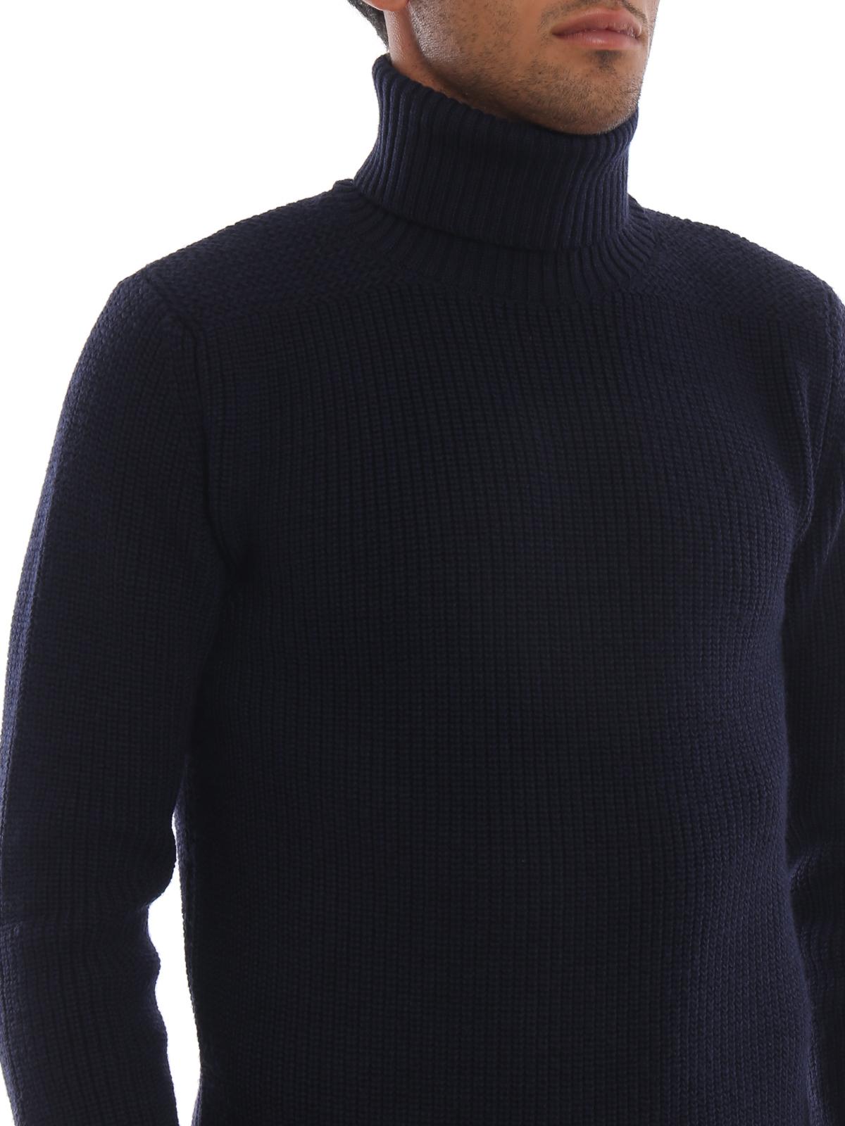 Woolrich - Dolcevita blu in lana a coste inglesi - maglia a collo ... 0fd4cd1d8c73