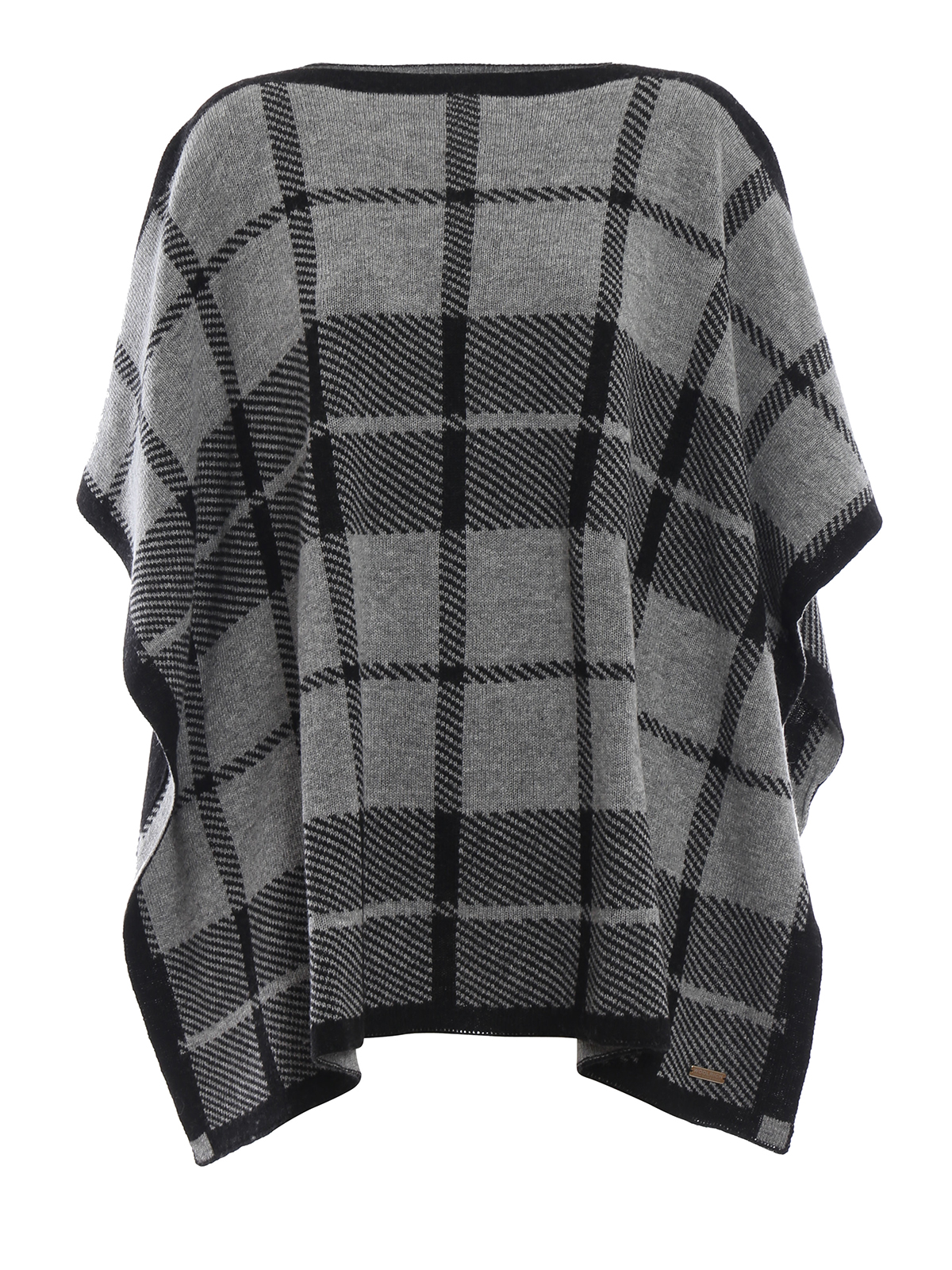 grigio misto Woolrich nero quadri in e Mantelle a lana Poncho e SnwBxgfwqZ