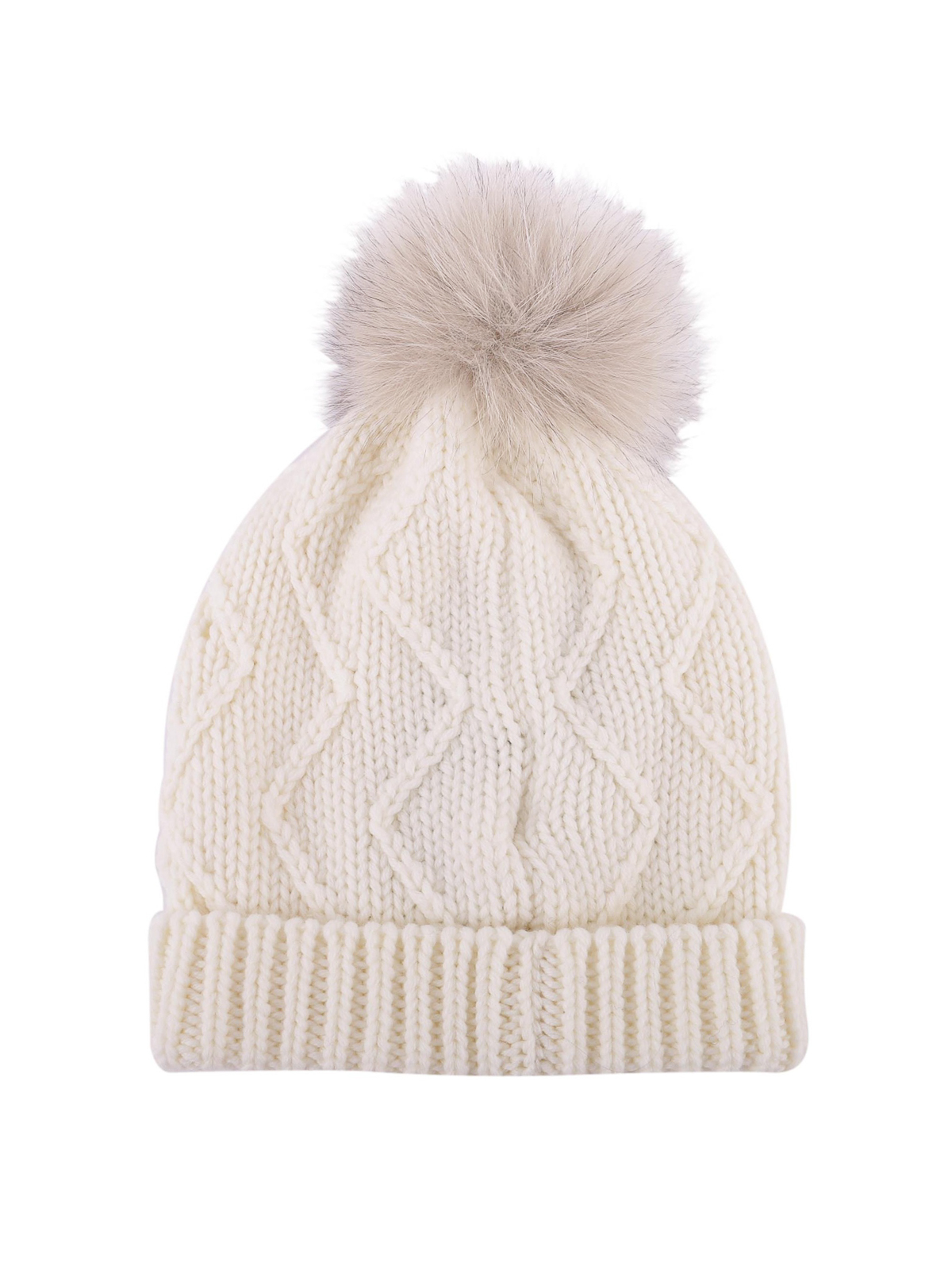 WOOLRICH  berretti online - Berretto in lana con targhetta logo e pompon c54b09f82fcd