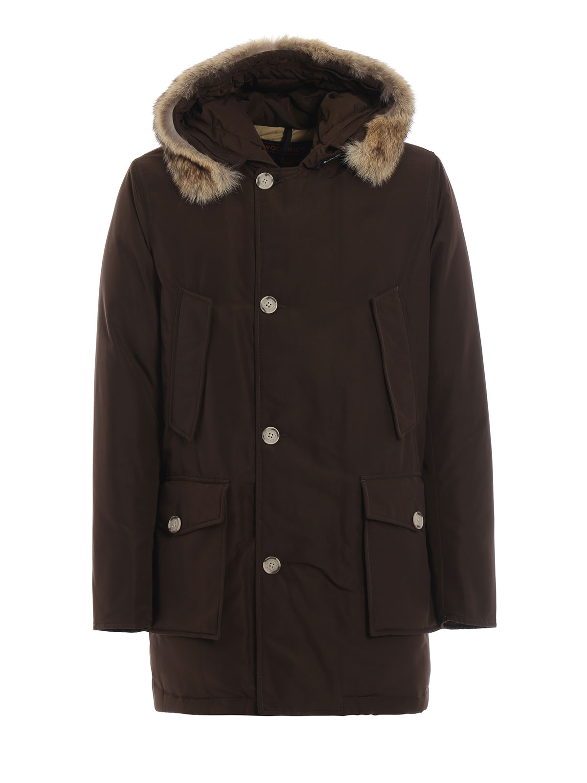 WOOLRICH ARCTIC PARKA DARK BROWN PADDED COAT
