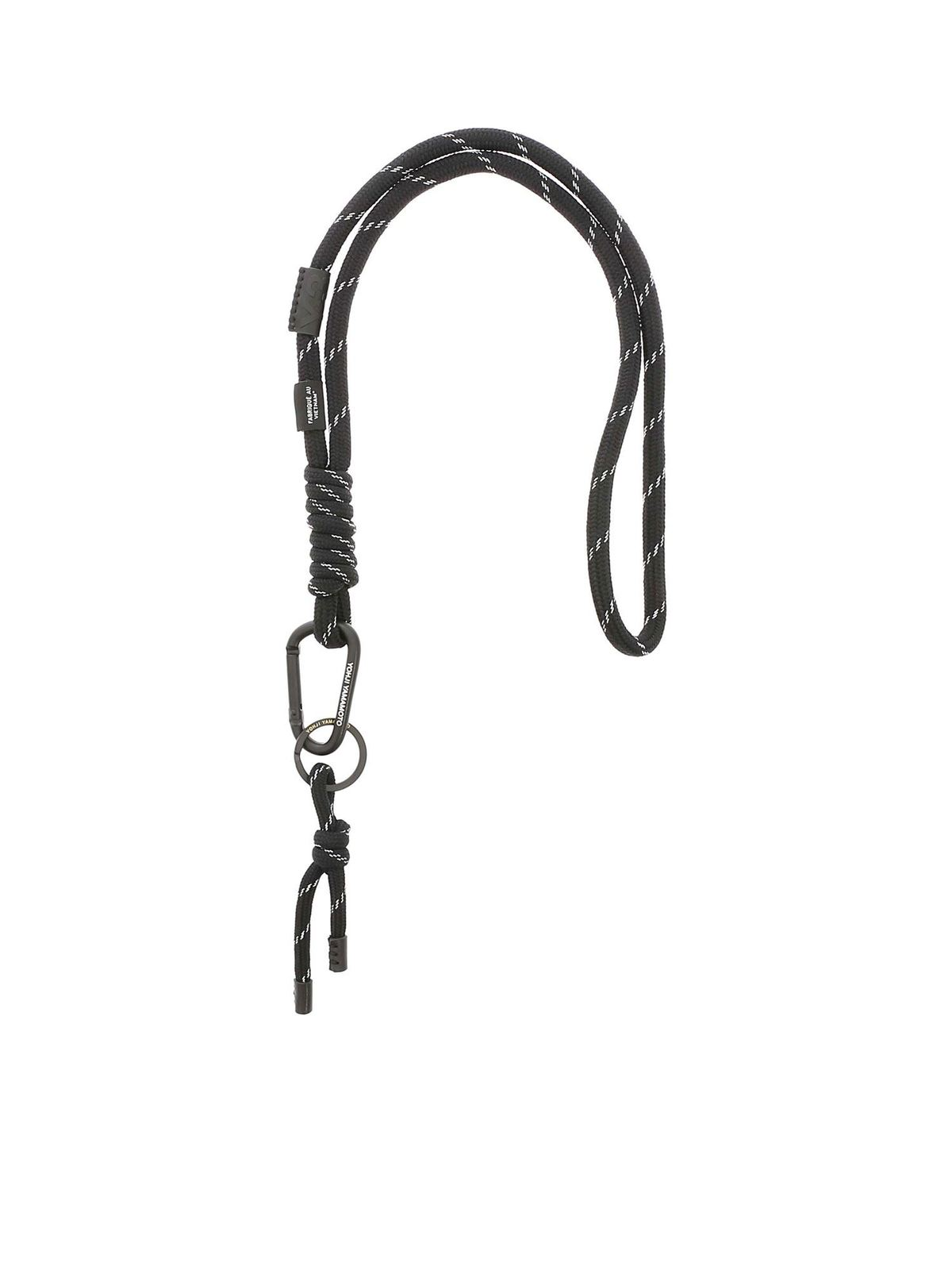 Y-3 LANYARD KEYRING IN BLACK