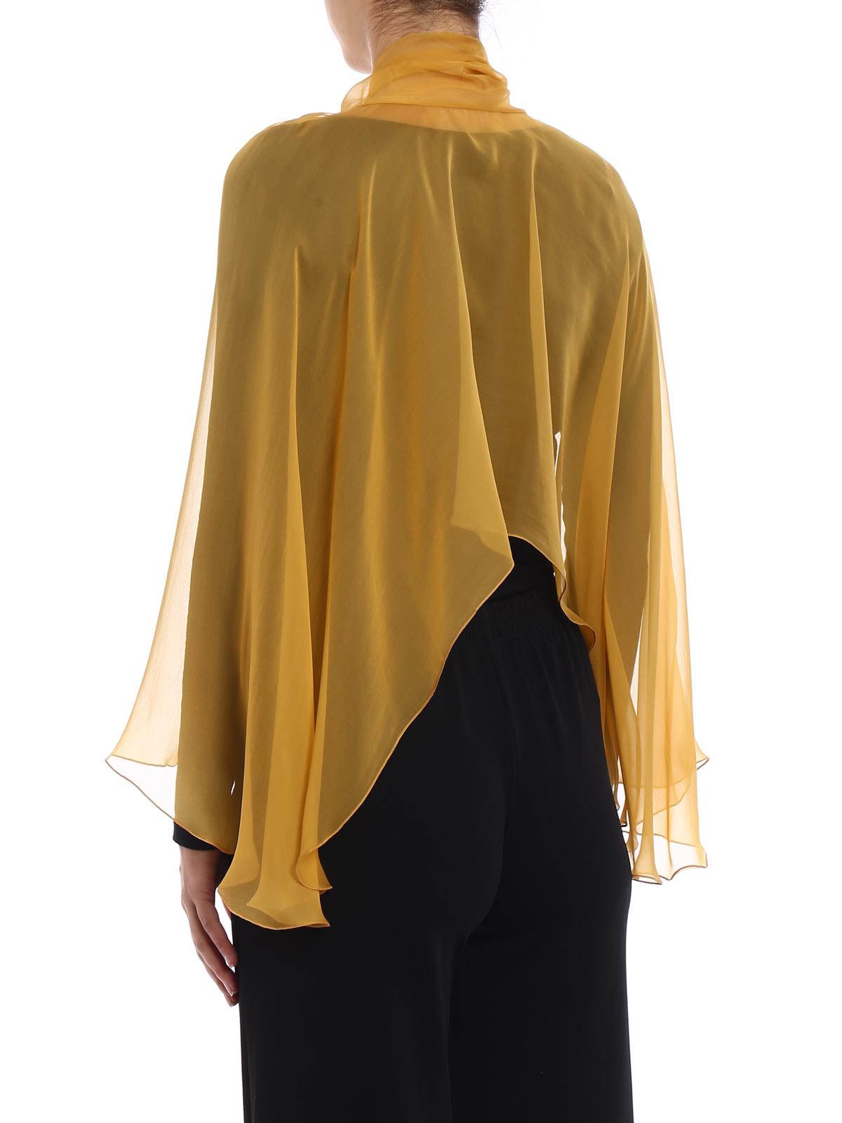 più foto 8d307 c5f7c Alberta Ferretti - Stola in chiffon di seta gialla - Stole ...