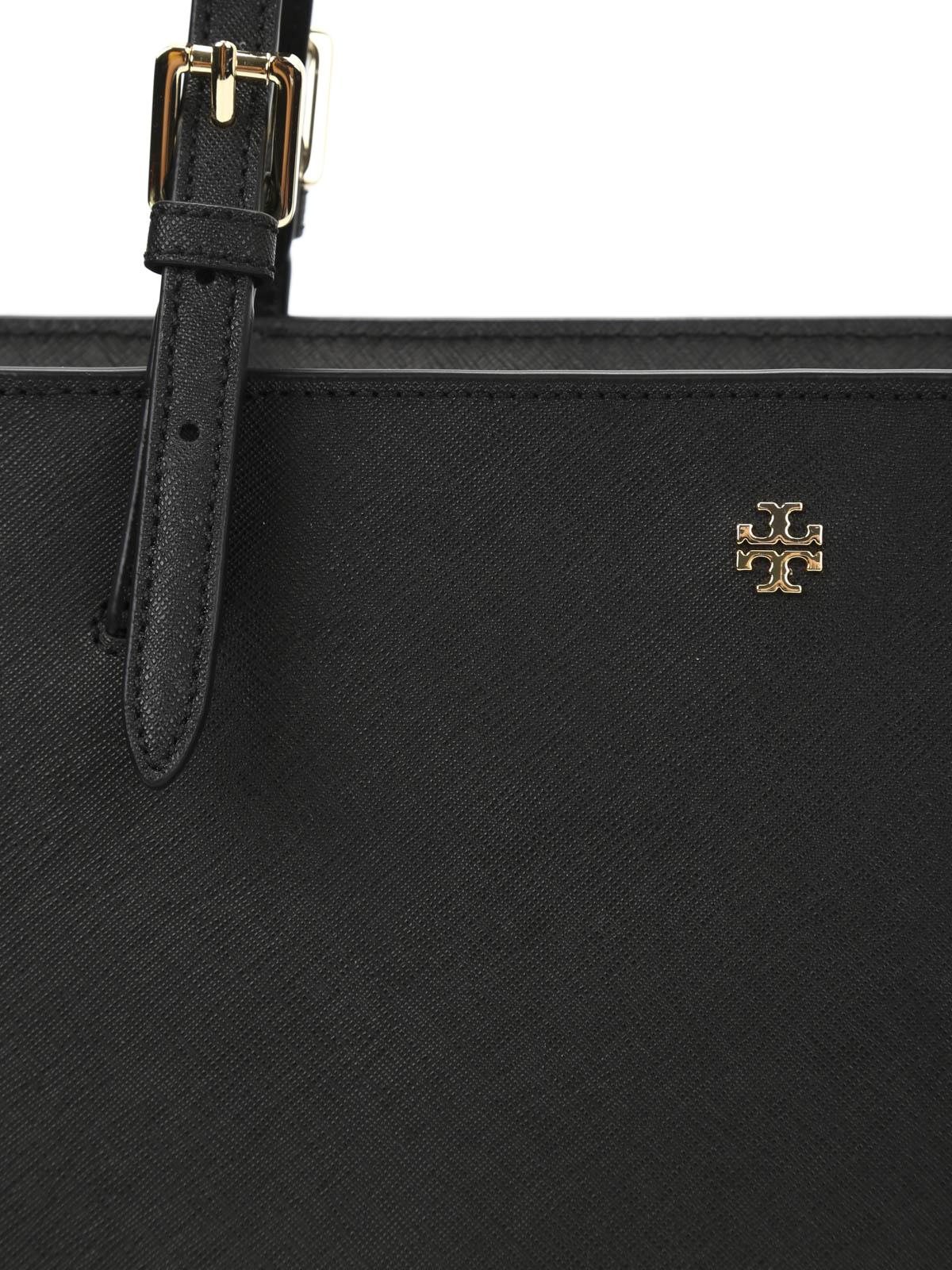 Tory Burch York Small Saffiano Tote Bag Luggage Baik Buckle Black Totes Bags 3115978115 001