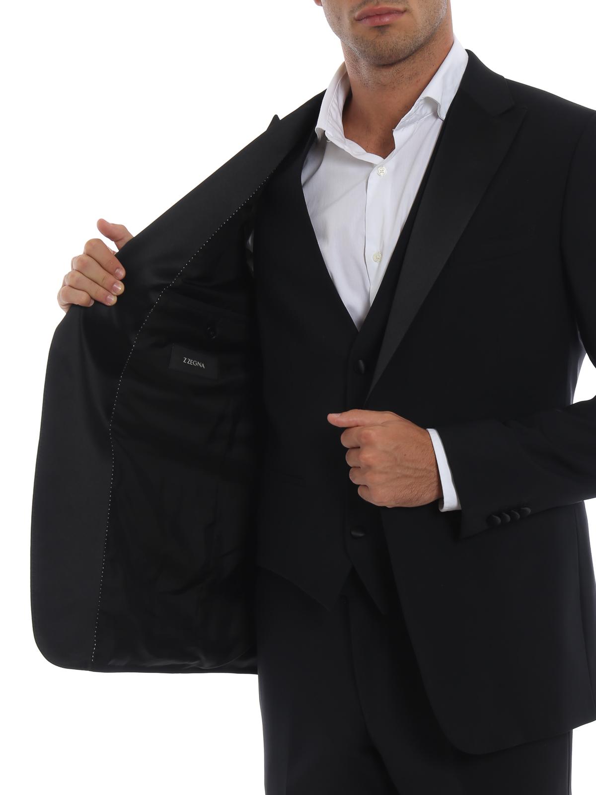 Z Zegna - Smoking Turati nero in fresco lana con gilet - completi da ... 4c61cf07500
