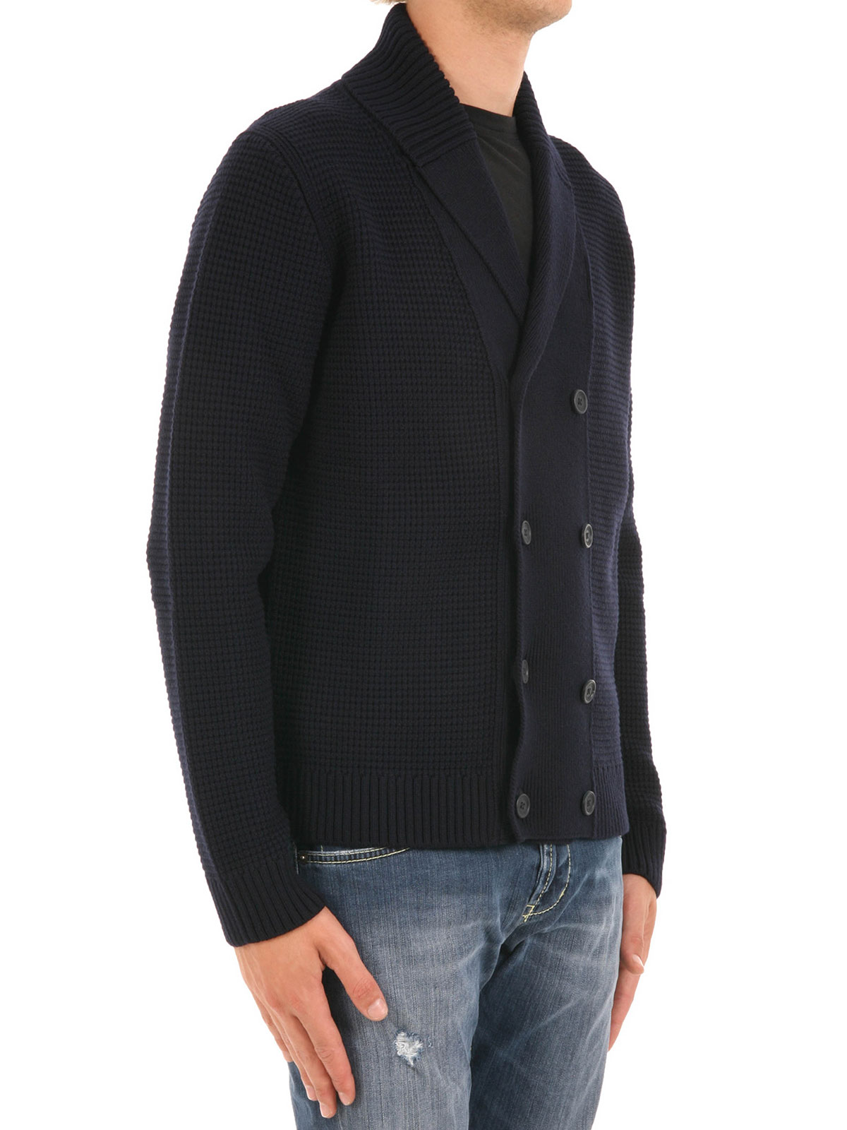 Double-breasted wool cardigan by Z Zegna - cardigans | iKRIX