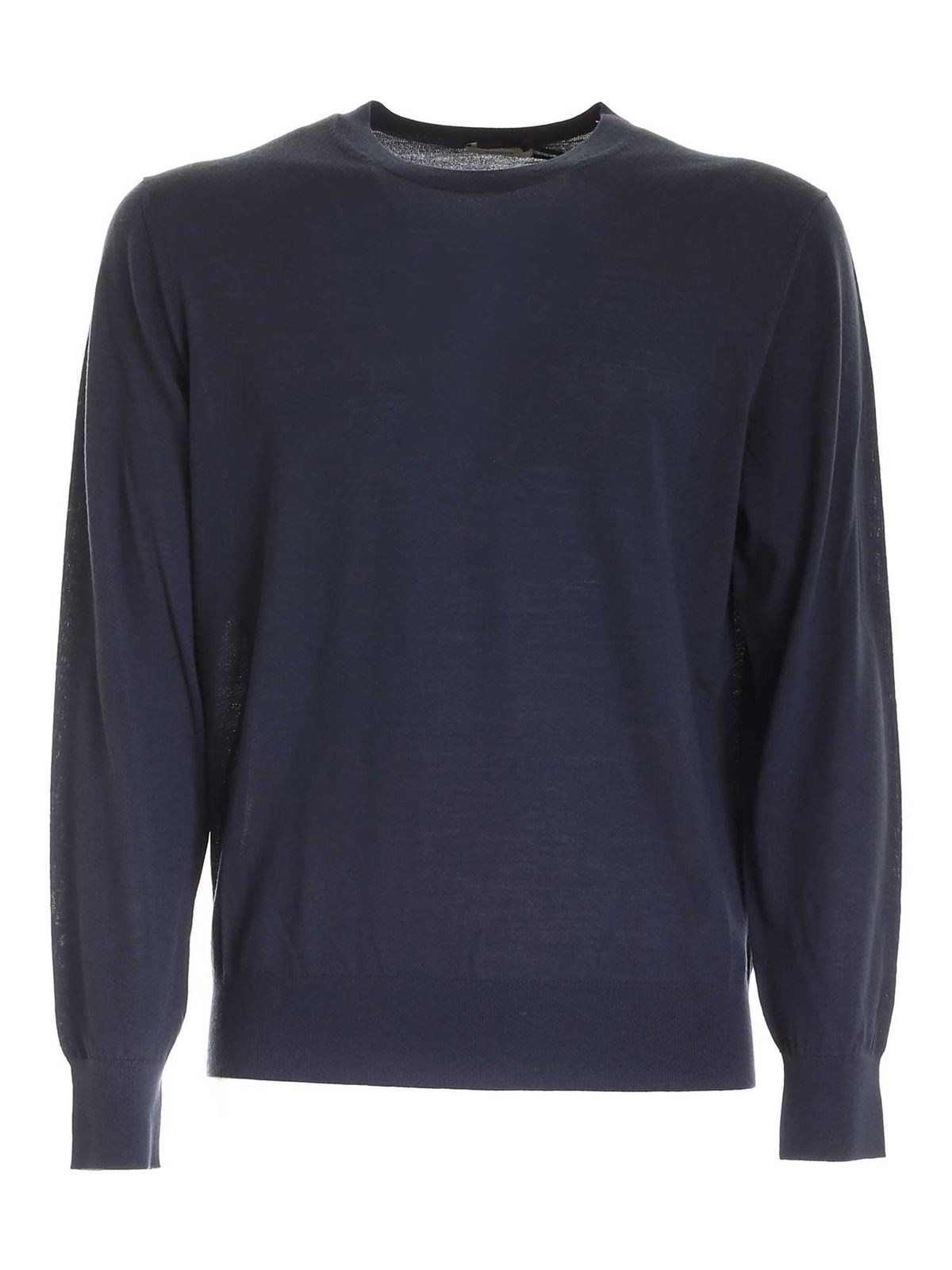 Z Zegna Clothing CREWNECK PULLOVER IN BLUE