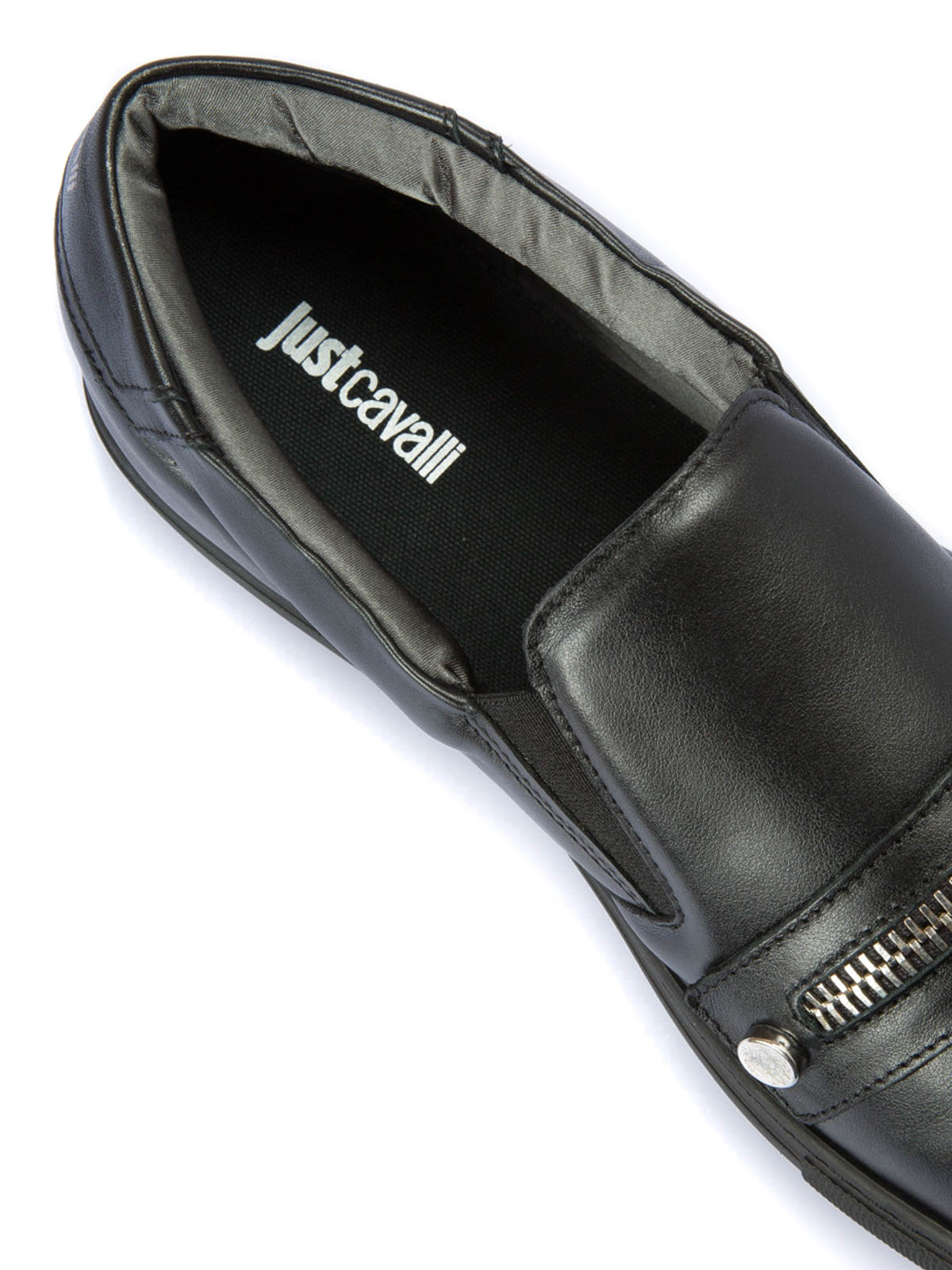 sale retailer 58875 1d13a Just Cavalli - Zip detailed leather slip-ons - trainers ...